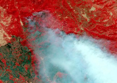 AUGUST 6, 2018: This is an enhanced Sentinal-2 infrared satellite image of the Mendocino Complex, Ranch Fire and River Fire, north and west of Clear Lake.