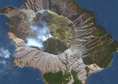 DigitalGlobe satellite image of Whakaari, White Island, Bay of Plenty, New Zealand.