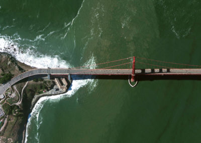 DigitalGlobe satellite image of the Golden Gate Bridge in San Francisco, California.