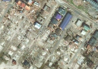 MEXICO BEACH, FLORIDA - OCTOBER 13, 2018: DigitalGlobe Imagery of Mexico Beach after getting hit by Hurricane Michael.